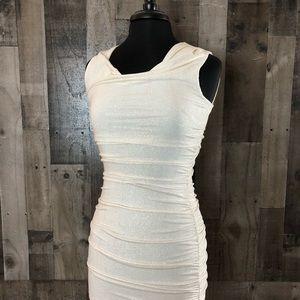 Sweet Storm White Glitter Ruched Dress NWOT